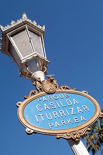 Casilda Iturrizar park sign. Bilbao. Biscay, Spain : Stock Photo