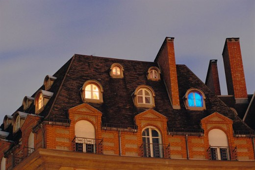 Rooftops and windows on the left bank. Paris, France : Stock Photo