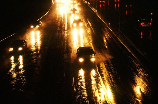 Driving in the rain. New York City, USA : Stock Photo