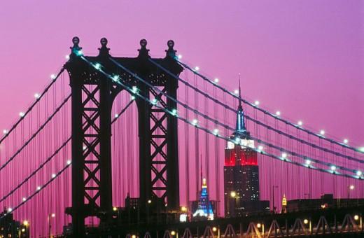 Manhattan Bridge and Empire State Building at night. New York City, USA : Stock Photo