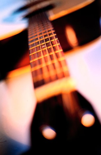 Acoustic guitar close-up : Stock Photo