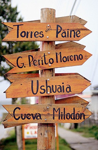 Sign at Puerto Natales. Patagonia, Chile : Stock Photo