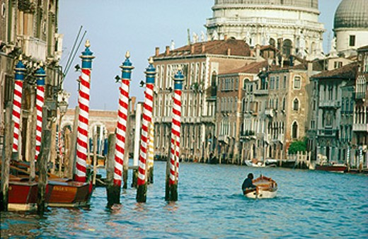 Stock Photo: 1566-0176673 Grand Canal and Santa Maria della Salute churchat background. Venice. Italy