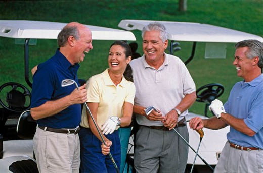 Stock Photo: 1566-0178127 Friends at golf course