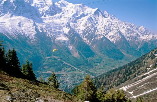 Stock Photo: 1566-0178896 View from Planpraz to Aiguille du Midi over Chamonix Valley. France.