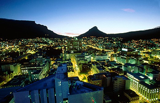 Downtown Cape Town at Twilight. South Africa : Stock Photo