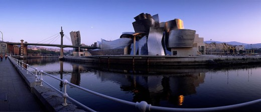 Stock Photo: 1566-0181424 Guggenheim Museum, by Frank O. Gehry, and Nervión River. Bilbao. Biscay. Spain