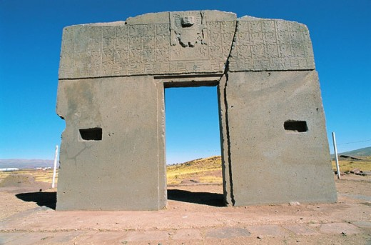 Gateway of the Sun. Tiahuanaco. Bolivia : Stock Photo