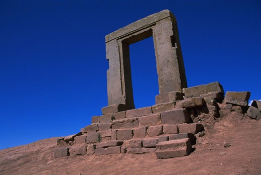Gateway of the Moon. Tiahuanaco. Bolivia : Stock Photo