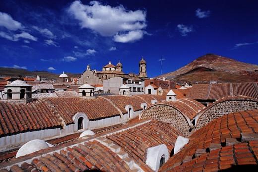Casa de la Moneda (former Royal Mint) and The Cathedral. Potosí. Bolivia : Stock Photo