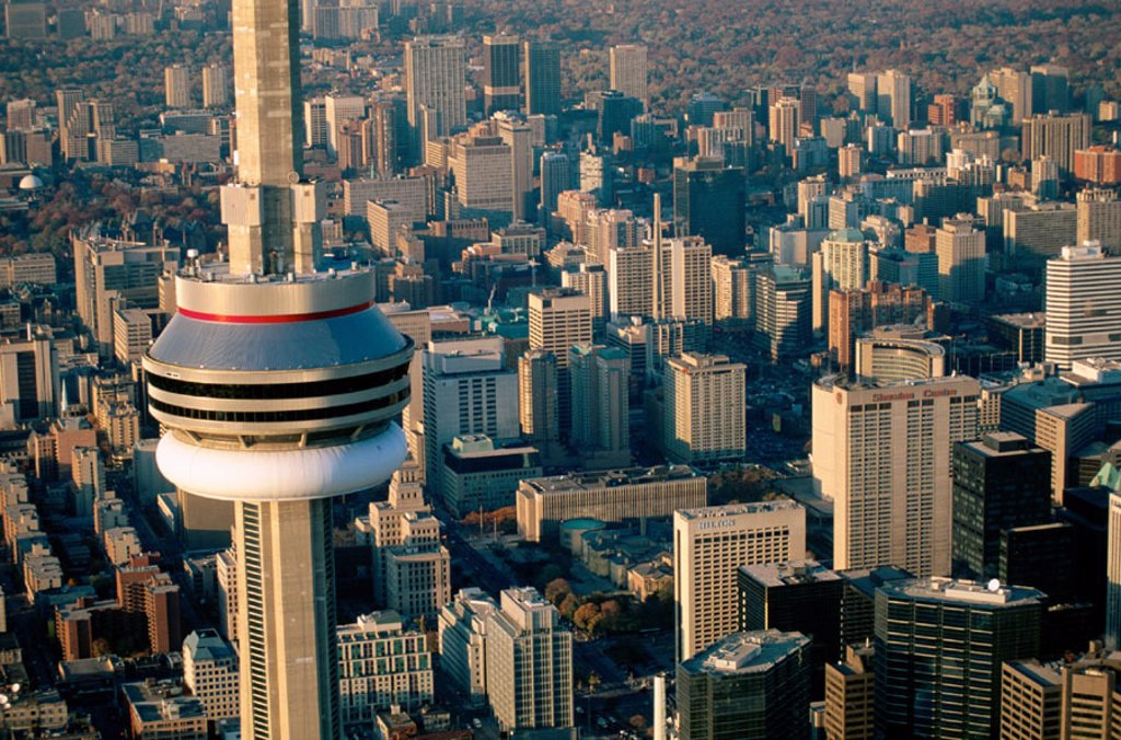 Stock Photo: 1566-0181776 Aerial of Toronto, CN Tower at fore