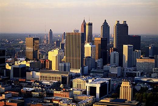 Stock Photo: 1566-0181790 Downtown Atlanta, aerial at dusk