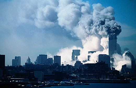 Stock Photo: 1566-0181856 World Trade Center after terrorist attack of 09.11.01 South Tower Collapse New York City. USA