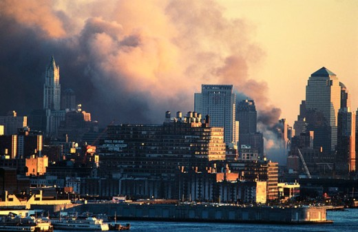 Stock Photo: 1566-0181863 World Trade Center after terrorist attack of 09.11.01 Smoke from Tower Collapses New York City. USA