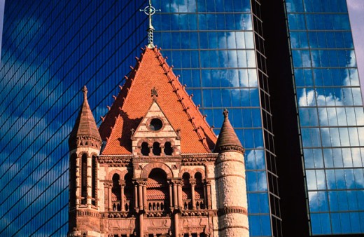 Stock Photo: 1566-0181866 Trinity Curch and Hancock Tower. Boston. Massachusetts. USA