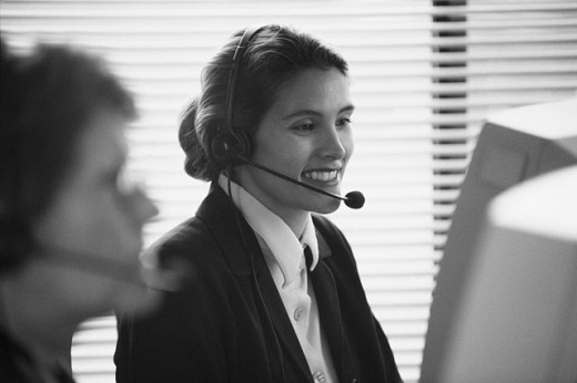 Two women telemarketers : Stock Photo