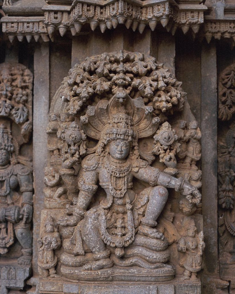 Stock Photo: 1566-0182831 Carved image of Vishnu seated on serpent Adisesha. Chennakeshava Temple. Somnathpur. India