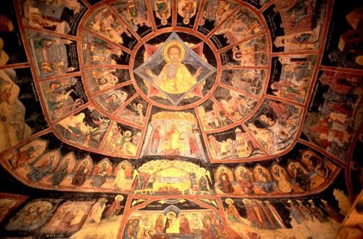 Frescoes in the Sinaia Monastery. Romania : Stock Photo