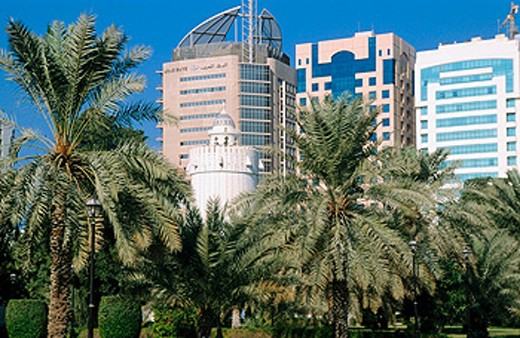 Stock Photo: 1566-0184406 Al-Hosn Palace & Modern buildings. Abu Dhabi. United Arab Emirates