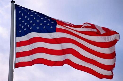 American flag flying near Bridgeville, Delaware. USA. : Stock Photo
