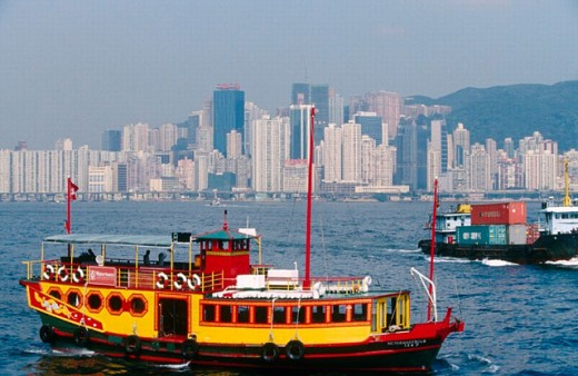 Hong Kong Bay Ferry. Hong Kong. China. : Stock Photo