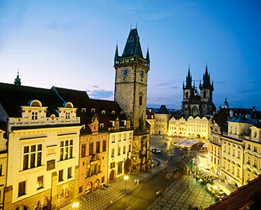 Stock Photo: 1566-0186493 Old Town Square, Tyn Church. Prague, Czech Republic