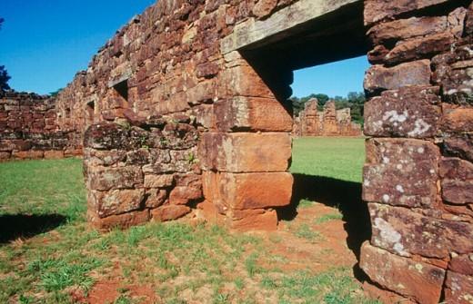 Indigenous dwelling. Jesuit Mission of San Ignacio Miní ruins. Misiones province. Argentina. : Stock Photo