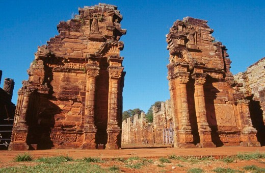 Church gate. Jesuit Mission of San Ignacio Miní ruins. Misiones province. Argentina. : Stock Photo