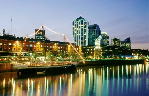 Stock Photo: 1566-0187281 Night view of Puerto Madero. Buenos Aires. Argentina.