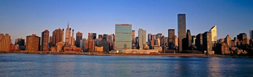 View of midtown Manhattan from Long Island, city morning. New York City, USA : Stock Photo