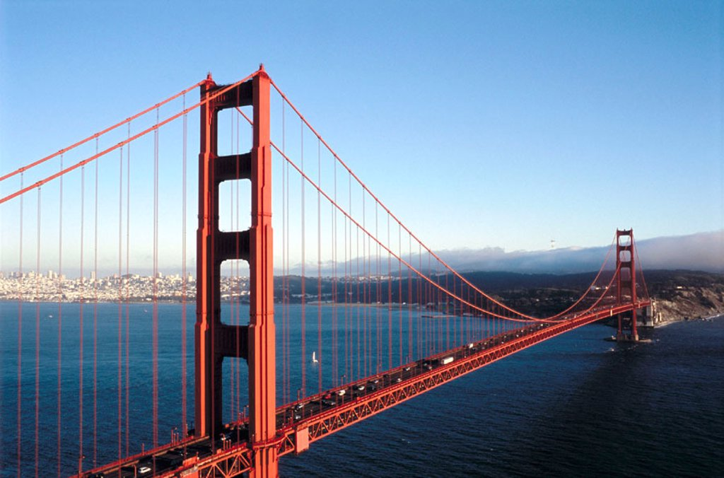 Golden Gate bridge and San Francisco at background. View from Golden Gate National Recreation Area. California. USA : Stock Photo