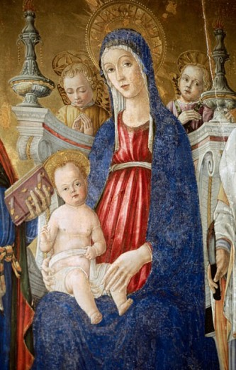 Madonna, painting in the cathedral. Pienza. Tuscany, Italy : Stock Photo