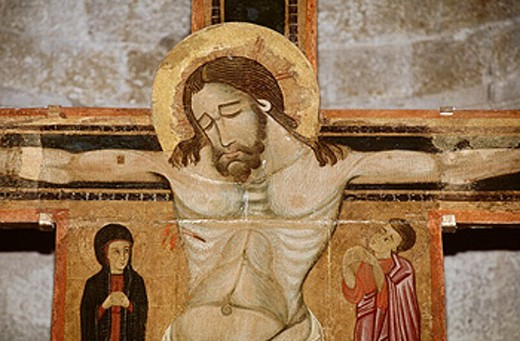 Crucifixion painting in Pieve di Brancoli. Tuscany, Italy : Stock Photo