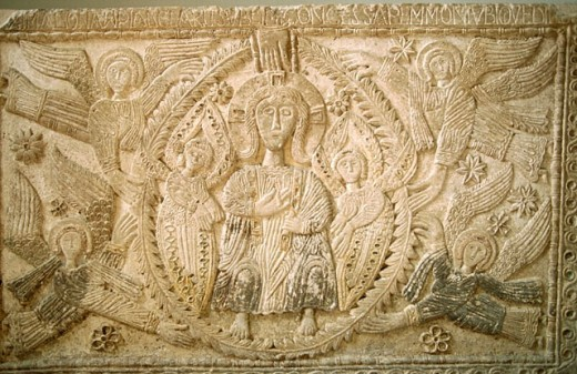 Stock Photo: 1566-0189011 Detail of relief in the cathedral museum. Cividale del Friuli. Friuli-Venezia Giulia, Italy