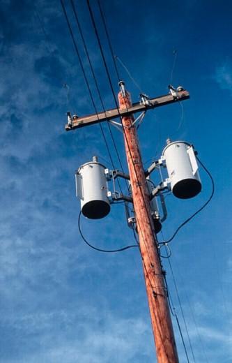 Telephone pole. Laconner, Washington, USA : Stock Photo