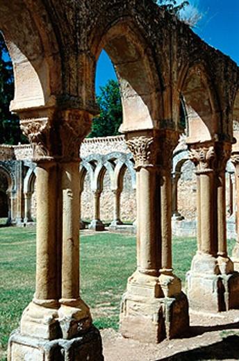 Stock Photo: 1566-0192013 Arches, cloister of San Juan de Duero (13th century) near Soria. Castilla-Leon, Spain