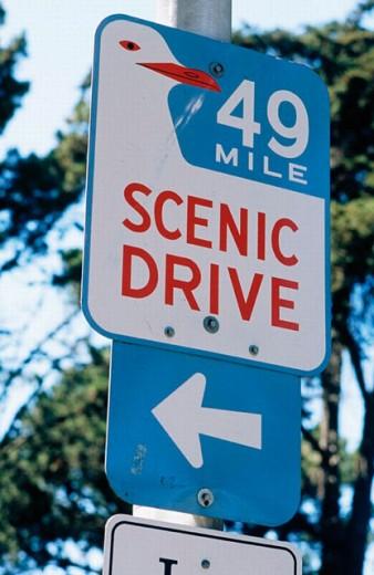 Stock Photo: 1566-0192362 49 Mile Scenic Drive sign. San Francisco, California. USA.