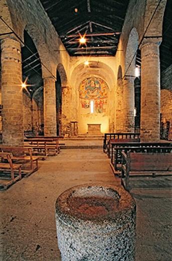Central apsis. Sant Climent de Taüll Romanesque church. Boí valley. Pyrenees mountains. Catalonia. Spain. : Stock Photo