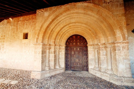 Romanesque chapel, main door. Andaluz. Soria province, Spain : Stock Photo