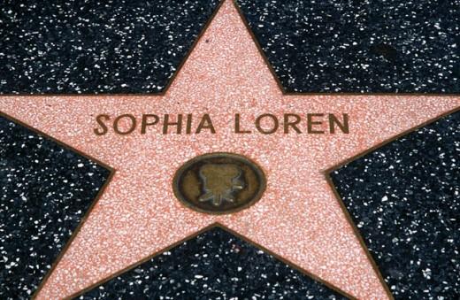 Sophia Loren´s star at Hollywood´s walk of fame. Hollywood Boulevard. Hollywood, Los Angeles. California. USA. : Stock Photo
