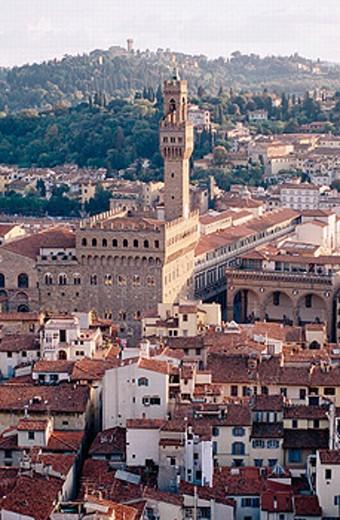 Stock Photo: 1566-0195001 Palazzo Vecchio tower. Florence. Tuscany, Italy