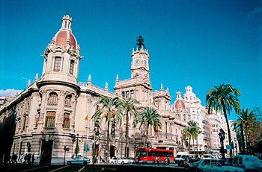 Stock Photo: 1566-0195525 Buildings in City Hall Square. Valencia. Spain