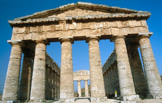 Stock Photo: 1566-0195544 Doric temple, ruins of the ancient Greek city of Segesta. Sicily, Italy