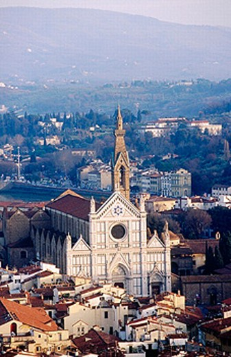 Santa Croce church as seen from the Campanile tower. Florence. Italy. : Stock Photo