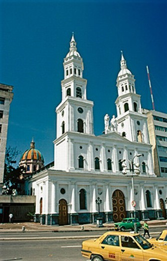 Stock Photo: 1566-0197650 Holy Family cathedral from Santander park. Bucaramanga. Santander Department. Colombia