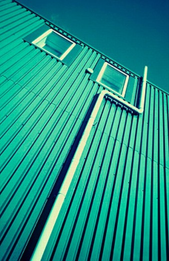 Stock Photo: 1566-0198414 Side of corrugated metal building.