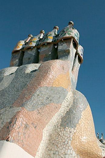 Stock Photo: 1566-0198477 Ventilation on Casa Battlo. By Antoni Gaudi. Barcelona. Spain.