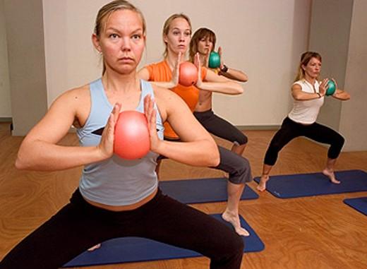 women doing chi-ball exercises : Stock Photo