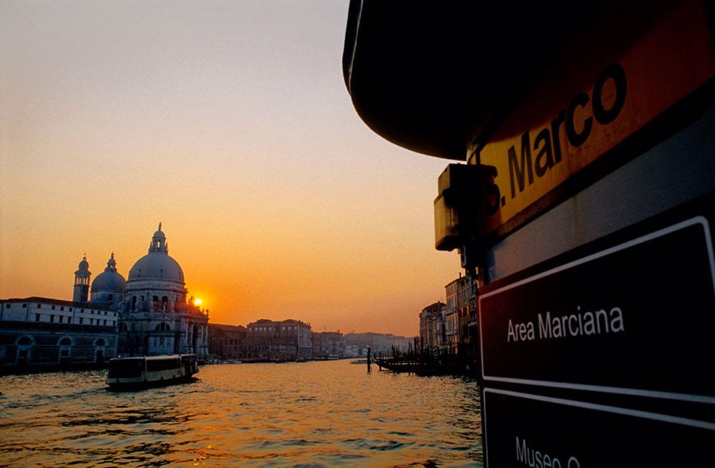 La Salute church. The Grand Canal at dusk. Venice. Italy. : Stock Photo