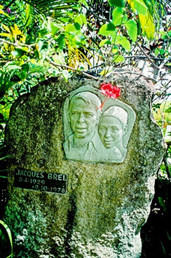 French singer Jacques Brel grave in Atuona. Hiva-Oa island. Marquesas archipelago. French Polynesia : Stock Photo